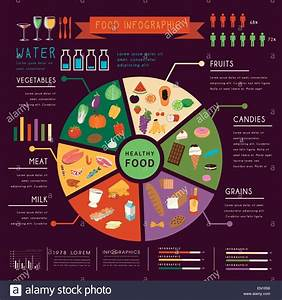 Lovely Pie Chart Food Infographic Over Purple Background