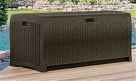 Suncast Wicker 73 Gallon Resin Deck Box by July 2016 Outdoor Furniture