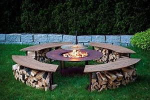feuerstelle outdoor model quotcirclequot set mit grill und 4 With feuerstelle garten mit outdoor belag balkon