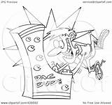 Arcade Playing Cartoon Outline Clip Royalty Toonaday Illustration Rf Clipart Line sketch template