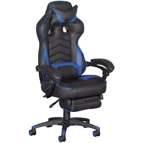 revolution blue gaming chair  footrest   blkblu cambridge home afwcom