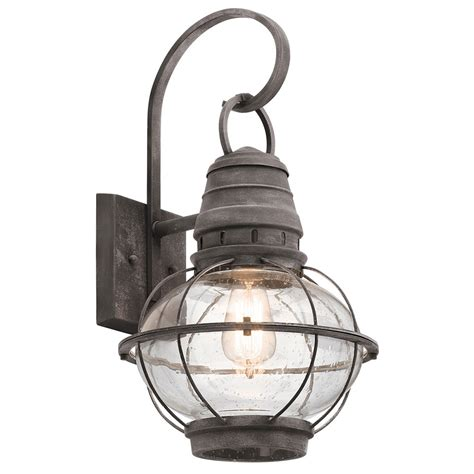 large nautical wall light kichler 49629wzc bridge point nautical weathered zinc exterior large wall sconce kic 49629wzc
