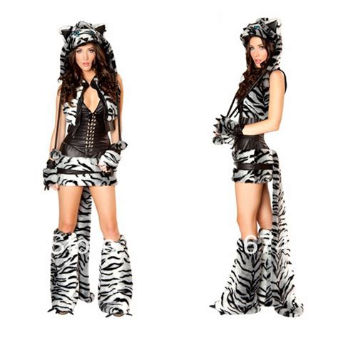 Aliexpress.com  Buy Black And White Tiger Costumes Leopard With Rape Classic Halloween Furry ...