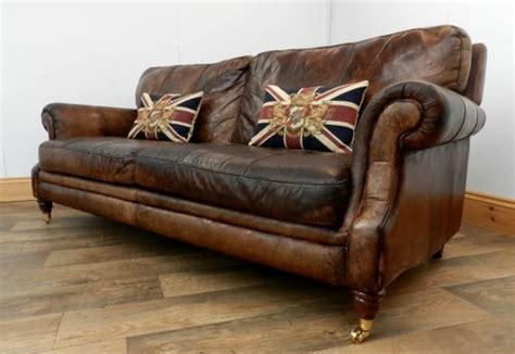 sofa vintage look style dyed cigar brown antique leather chesterfield club sofa ebay ideas for