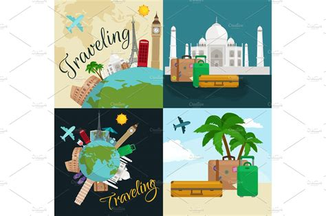Travel Around The World Poster. Tourism And Vacation