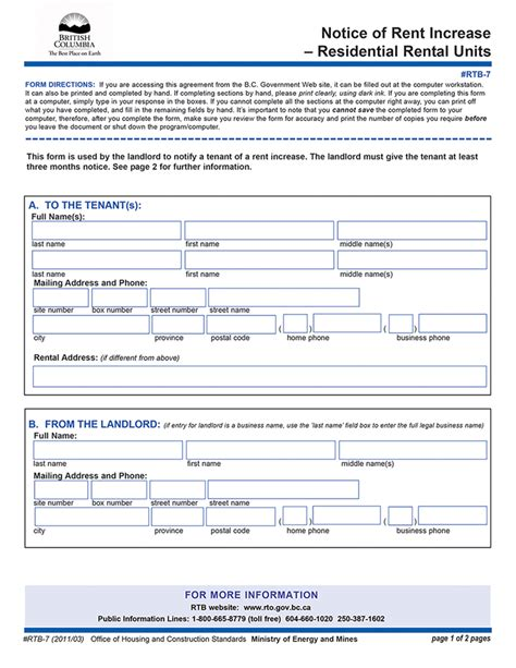 notice of rent increase bc rent increase notice rtb 7 ez landlord forms Ontario