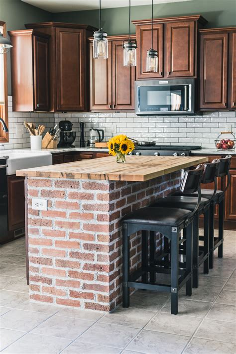 tile designs floor diy brick kitchen island the of our