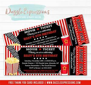 Dinner Party Invitation Card Printable Movie Ticket Birthday Invitation Movie Night