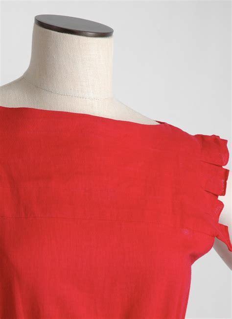 1980s Pierre Cardin red linen dress   Hemlock Vintage Clothing