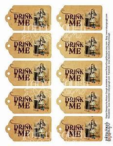 alice in wonderland drink me vintage tags printable sheet With alice in wonderland tags template