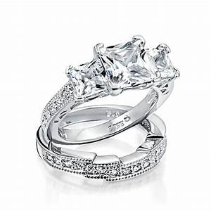 925 sterling silver princess cut cz wedding engagement With 925 sterling silver wedding rings