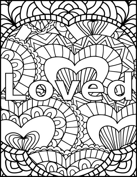 loved adult coloring page inspiring message coloring