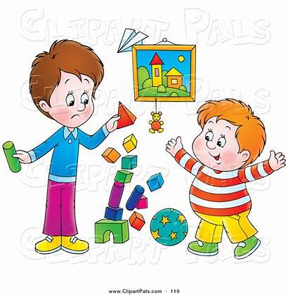 Playing Clipart Play Friends Blocks Boys While