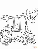 Coloring Cauldron Jack Pages Lanterns Boiling Printable Halloween Drawing sketch template