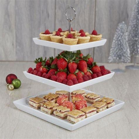 ksp plateau  tier serving platter white appetizer dessert tiered stand  easy storage