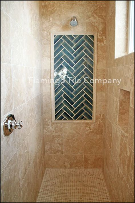 marble shower  candied brick herring bone picture