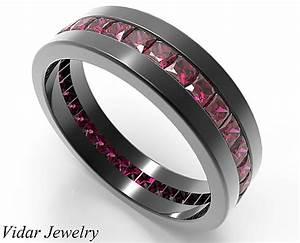 Rubies Wedding Ring For Him In 14k18k Black Gold Vidar