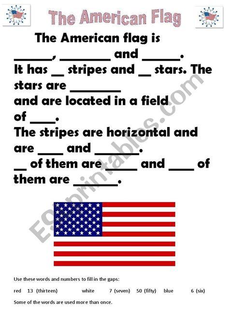 american flag esl worksheet  ejpan