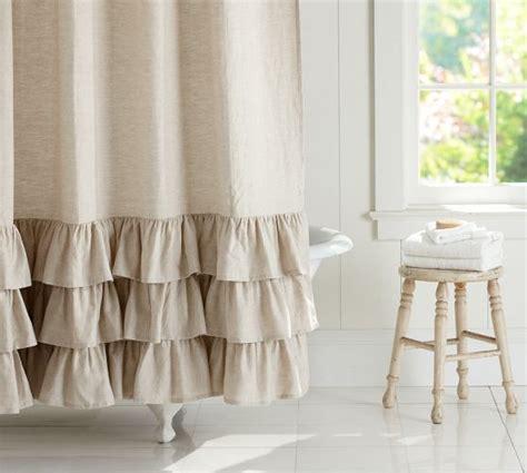 linen ruffle shower curtain pottery barn client m