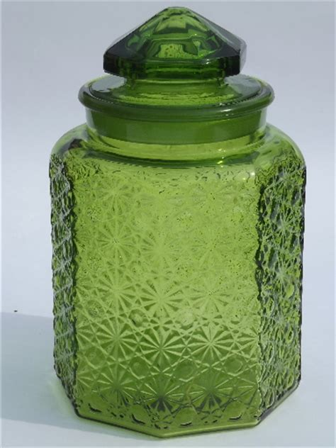 vintage green glass daisy button kitchen counter canister jars set