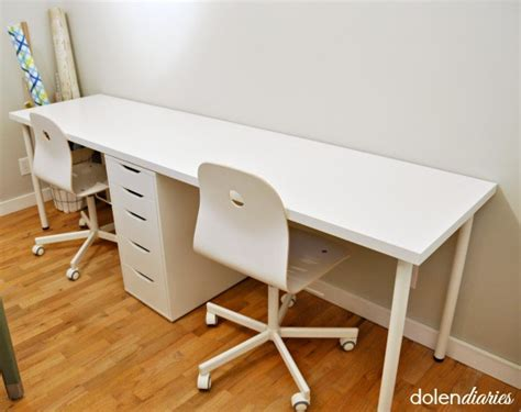 white two person desk two person workstation my craftily ever after