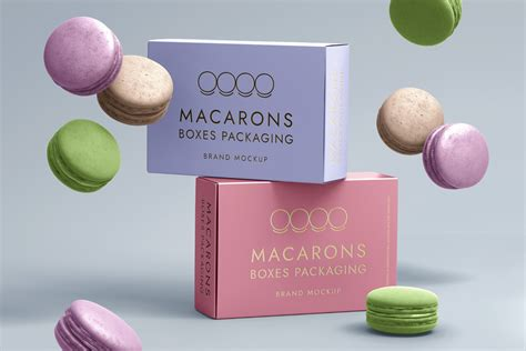 All free mockups include smart objects bottle with dropper cosmetics mockup to showcase your branding packaging design in a. Psd Macarons Box Packaging Mockup | Psd Mock Up Templates ...