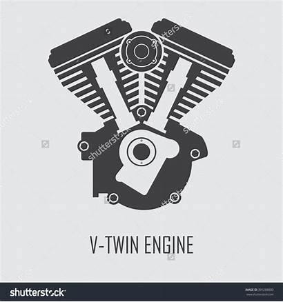 Engine Twin Clipart Vector Motorcycle Clip Flat