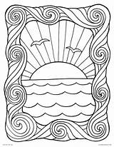 Coloring Pages Waves Sunset Wave Sheet Ocean Printable Water Frame Adults Summer Sun Print Scene Surf Popular Getcolorings sketch template