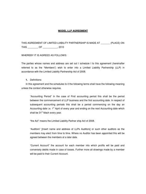 model llp agreement limited liability partnership partnership