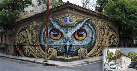artist completely transforms intersection with incredible owl mural twistedsifter