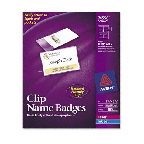 Avery Id Badge Template by Avery Clip Style Badge Holders Ave74556 Shoplet