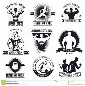 Bodybuilding And Fitness Gym Logos And Emblems Stock ...