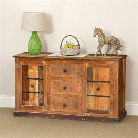 Rustic Sideboard Buffet by Classic Country Rustic Reclaimed Wood 3 Drawer Sideboard