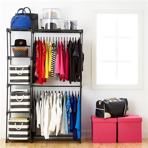 standing closet rack deluxe rod freestanding closet the container