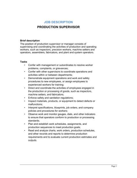 Production Supervisor Job Description  Template & Sample. Business Resume Design. Current Resume Trends. Developer Resume Samples. Duties Of A Sales Associate For Resume