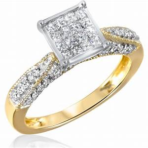1 ct tw diamond women39s bridal wedding ring set 14k With wedding rings for women yellow gold