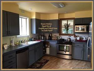 Renee painted her kitchen cabinets with chalk paintr by for What kind of paint to use on kitchen cabinets for made in usa stickers