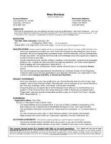 Resume Template Without Work Experience Resume Sle No Work Experience Jianbochen Com
