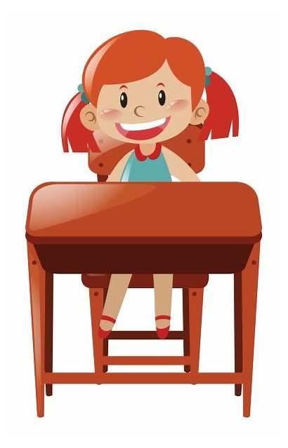 Desk Sitting Clipart Student Vector Clip Illustration