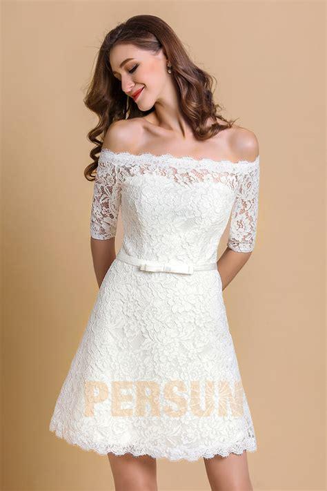 robe de mariée et blanche dentelle robe de soir 233 e courte blanche pour mariage col bardot en