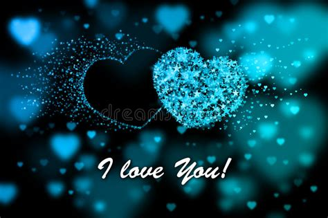 love  blue hearts background  bokeh effect stock