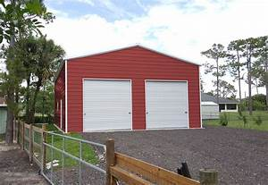 two car prefab steel garage building kit with doors With 2 car garage building kits