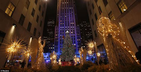 rockefeller center lights turned on with help