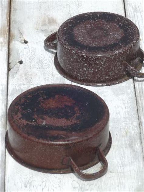 vintage enamelware camp cookware lot brown graniteware enamel pots pans
