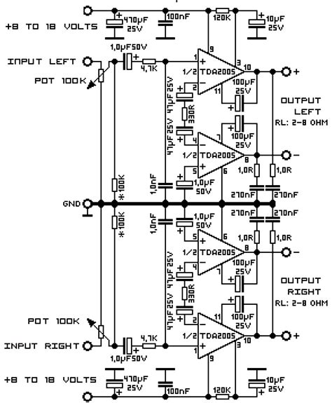Watt Stereo Audio Amplifier Using Tda Circuit Scheme