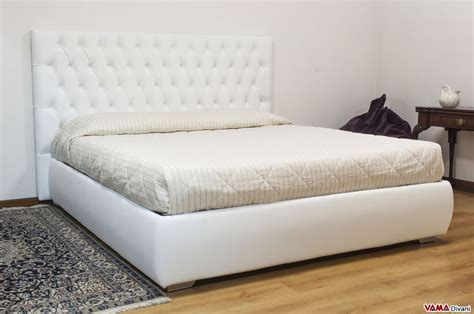 White Fabric Headboards Leather Double Bed With