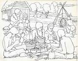Plantation Plymouth Fall Illuminates Visit Coloring Children Pilgrims 1621 Landing sketch template