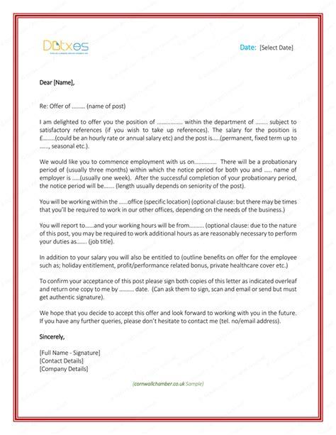 job offer letter  employer  employee letter