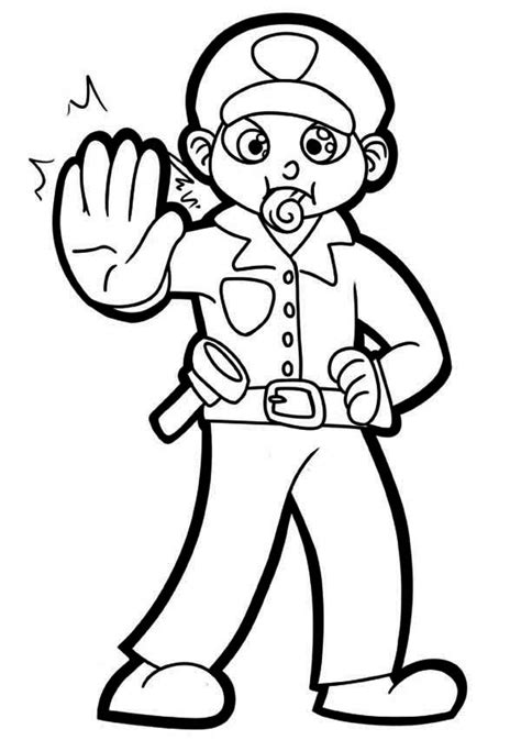 police officer  whistle coloring page netart