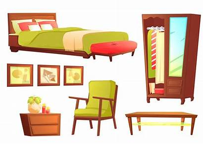 Sofa Bedroom Object Shelf Wooden Clipart Leather